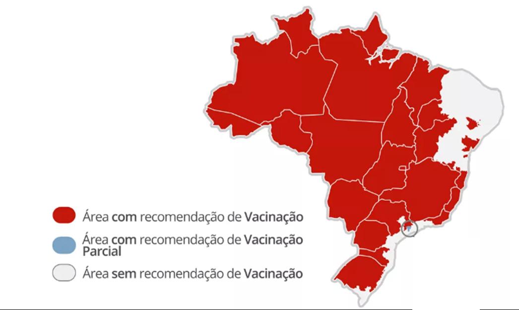 Áreas aonde é recomendado tomar a vacina da febre amarela