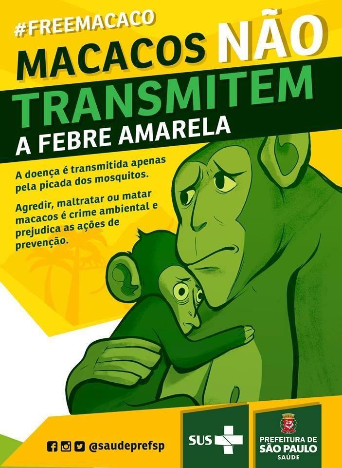 Folder do SUS e prefeitura de São Paulo avisando que macacos não transmitem a febre amarela