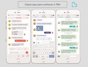 Há uma série de exemplos de chatbots de saúde em diversos canais possíveis (SMS, Facebook Messneger e Webapp) e um convite para conhecer mais sobre a TNH.