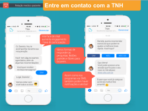 É uma demosntração de como seria um chatbot da TNH simulnado uma interação mias humanda para a relação médico paciente.
