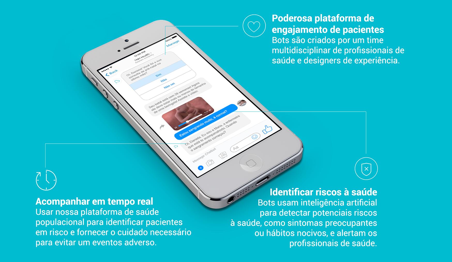 Smartphone com demonstração de chatbot no Facebook Messenger e benefícios deste canal para comunicação