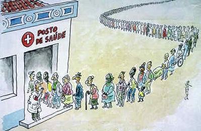 Charge ilustrando filas e a precariedade de saúde no Brasil